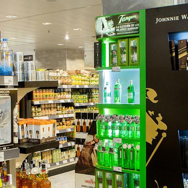Expositor de bebidas para espacio comercial